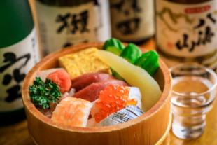 料理写真 商用撮影 ちらし寿司と日本酒 居酒屋メニュー