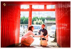 3才の男の子 窯垣の小径(愛知県瀬戸市)でロケーション撮影