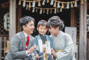 瀬戸市の深川神社で七五三 家族の写真