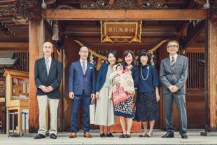 長久手市の景行天皇社へお宮参り 家族の集合写真