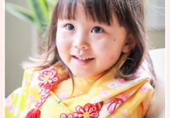 七五三 3歳の女の子 黄色の着物