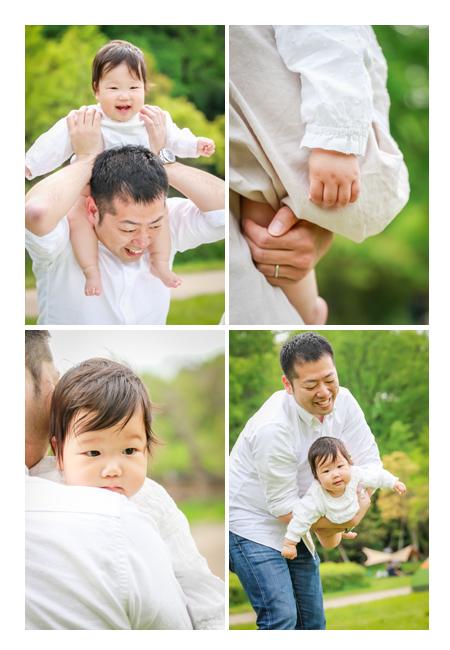 公園で家族写真 家族で白シャツのリンクコーデ