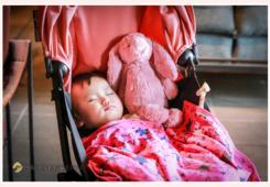 ベビーカーの上で眠る1歳の女の子