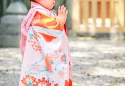 深川神社で七五三 お祈りをする女の子
