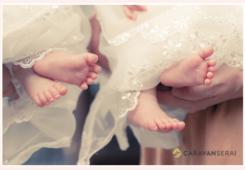 双子ちゃんのお宮参り 足のアップ写真