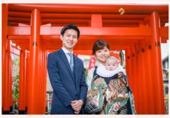 お宮参り 3か月の赤ちゃん 黒のお祝い着